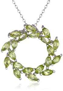 """Sterling Silver Peridot Leaf Design Circle Pendant Necklace, 18"""""""