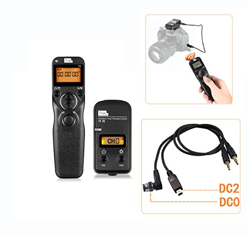 PIXEL T9-DC0/DC2 LCD 2.4GHz Wired or Wireless Timer Remote Control for Nikon D300s, D3X, D3, D700, D300, D200,D7200, D7100, D7000, D550