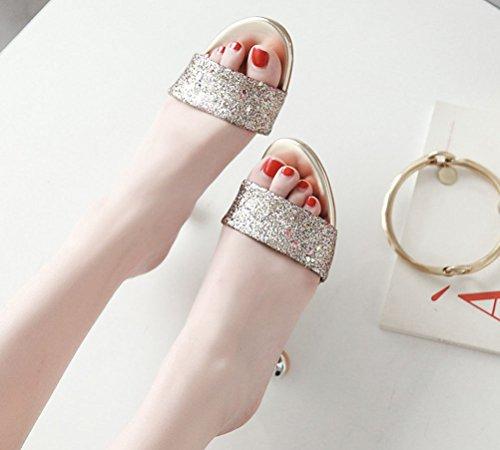 Sandals Gold Strap cm Clogs One 4 6 Glitter Charm Sequins Slippers Slides Heels Kitten Women's Size HiEase 11 x8TqIwYI