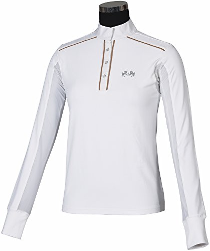 Ladies Show Shirt (Equine Couture Ladies Rio Show Shirt (White/Putty, L))