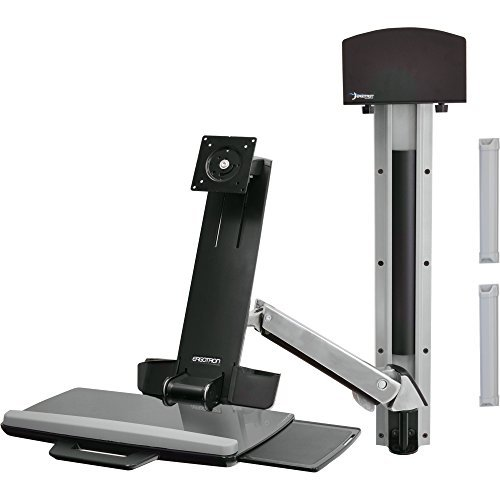Ergotron 45-266-026 StyleView Sit-Stand Combo Arm - Mounting kit ( articulating arm, wall track mount ) for LCD display / keyboard / mouse / bar code scanner ( Lift and Pivot ) - plastic, aluminum - screen size: up to 24 inch - mounting interface: 100 x 100 mm, 75 x 75 mm