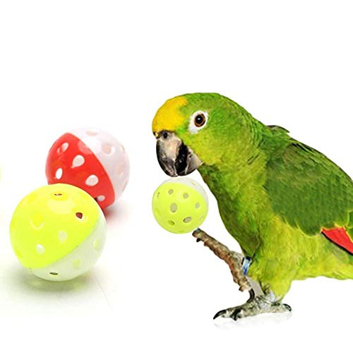 1pc Funny Parrot Toys Hollow Ball With Bell Bird Chewing Sound Toy Random Color Items Shred Swing Toys Bird Plastic Lovebirds Rope Hanging Perches Girls Beads Under Shoes Ring (Bell Ring Bird Toy My)