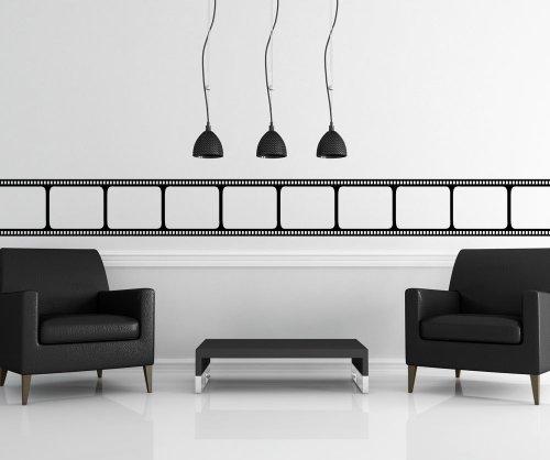 Black Movie Film Strip Wall Decal Sticker Decor by Stickerbrand 7'' Tall X 72'' Wide #OS_MB912s-Blk by Stickerbrand