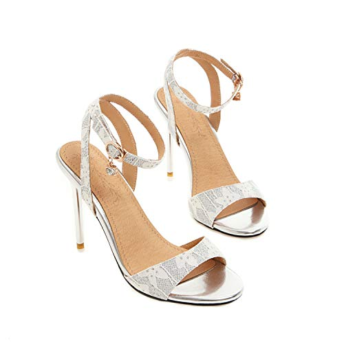 Women Sandals Pu High Heel Peep Toe Slingback Bead Buckle Twinkle Summer Sexy Pumps 34-43,White,3