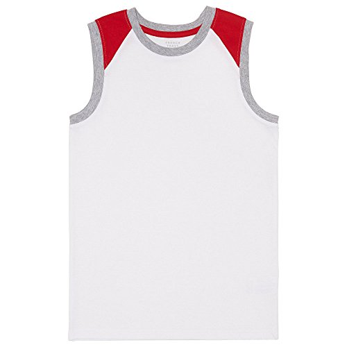 French Toast Big Boys' Muscle Tee, Colorblocked White, M (8) (Boys White Tank)
