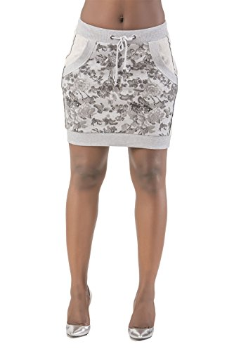 's Curvy Fit Grey French Terry Floral Printed Mini Skirt Size Large (Stretch Terry Skirt)
