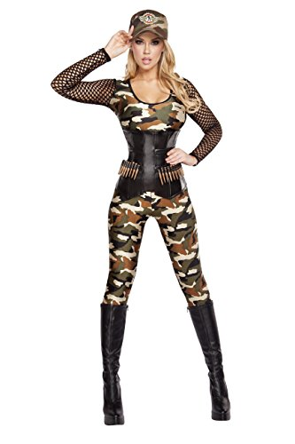 Cyberteez Sexy Women's 4pc Lusty Lieutenant Camo Military Armed Forces Costume -