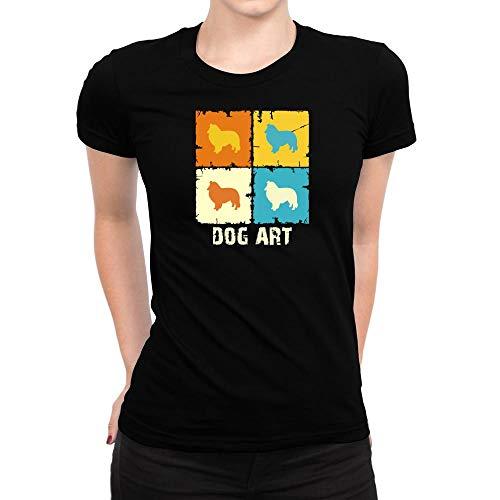 Idakoos Shetland Sheepdog Dog Art POP Art Women T-Shirt L Black