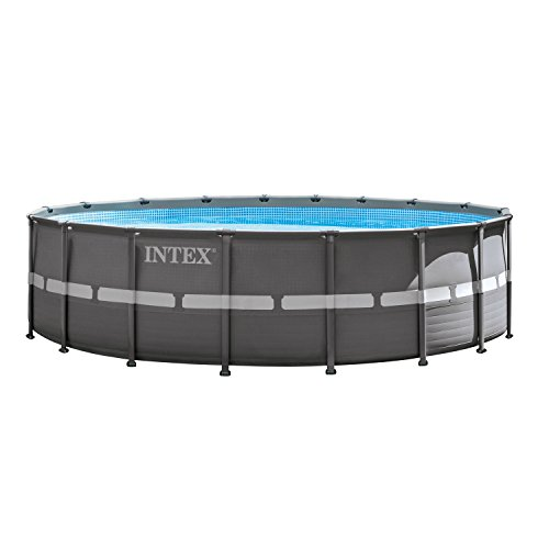 Round Frame Pool (Intex 18ft X 52in Ultra Frame Pool Set with Filter Pump & Saltwater System, Ladder, Ground Cloth, Pool Cover, Deluxe Maintenance Kit & Volleyball Set)