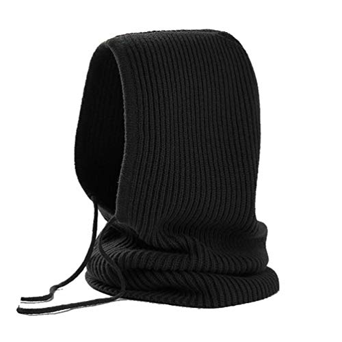 Hooded Scarf Women Men Cashmere Blending Soft Cozy Windproof Black Hat Fall Winter Outdoor Sports Cycling Skiing Camping (Black) by FINCATI (Image #5)