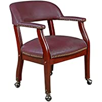 Regency Ivy League Captain Chair with Casters, Burgundy