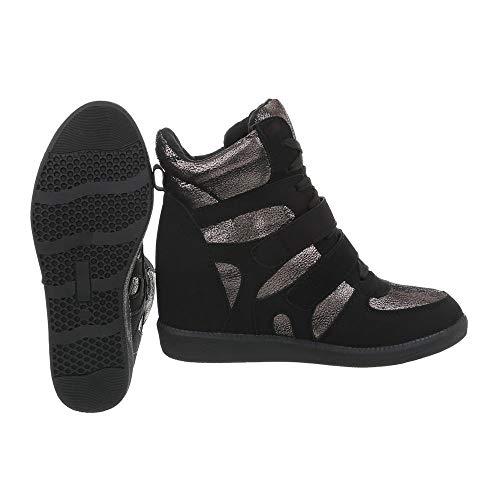 Bottes Silber Et Ital Bottines design Schwarz Chaussures Zy9192 Compensé Femme Compensees Rqw1g