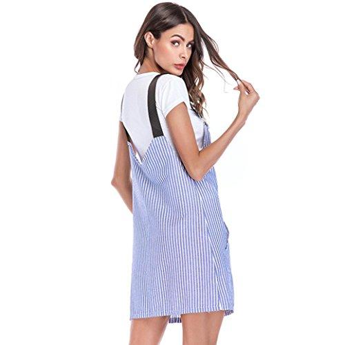 Kimodo Poches Coton Femmes Barboteuses Réglables À Rayures Casual Combishort Mini-robe Bleue
