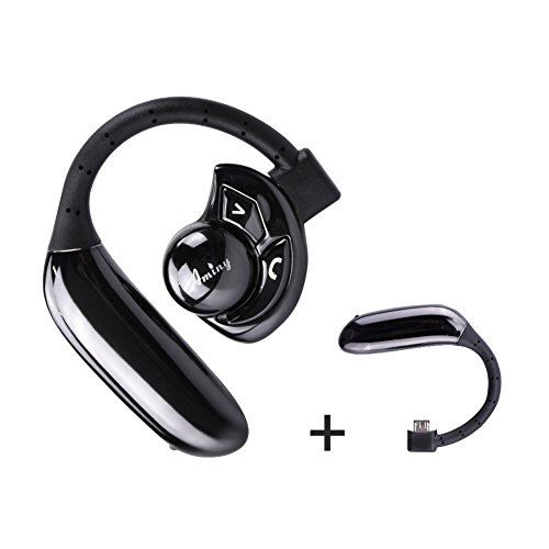 AMINY Bluetooth Headset UFO Bluetooth 4.1 Earpiece with Microphone Noise Canceling Wireless Handsfree Headsets for iPhone Android Bluetooth Devices(black)
