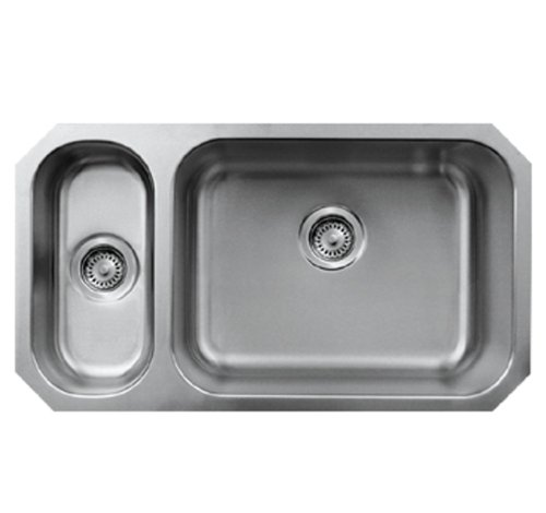 Whitehaus WHNDBU3118GDL-BSS Noah'S Collection 32 1/4-Inch Double Bowl Undermount Disposal Sink, Brushed Stainless Steel ()