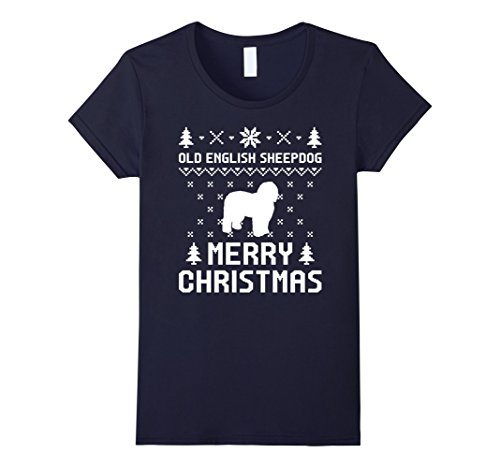 Dog Costumes Old Navy (Womens Old English Sheepdog Ugly Christmas Sweater T-shirt Small Navy)