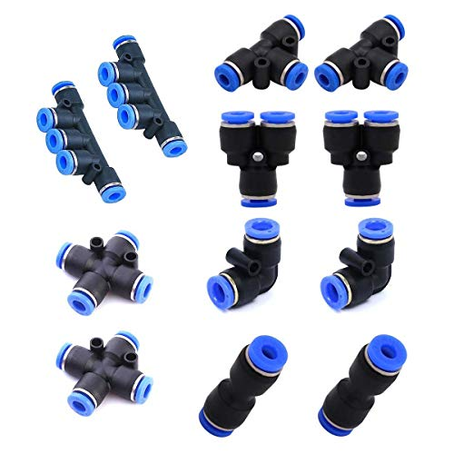 - Pneumatic Tube Fittings,Plastic Push to Connect Fittings, 8mm Tube Fitting 11 pcs, Push Fit Fittings Pipe Tube Fittings. (8mm Tube OD)