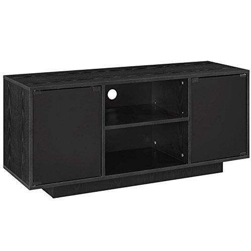 Contemporary Living Room Pedestal (Modern Contemporary Urban Design Living Lounge Room TV Media Console Stand, Black, Wood)