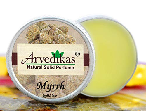 Arvedikas Myrrh Natural Solid Perfume Beeswax/Mini Jar/Floral Fragrance/Myrrh Perfume/Scented Balm/Skin Friendly/Alcohol Free/Body Musk/Body Parfum/Gift for Her / (4gm each - 0.14oz) - Cherry Solid Perfume Blossom