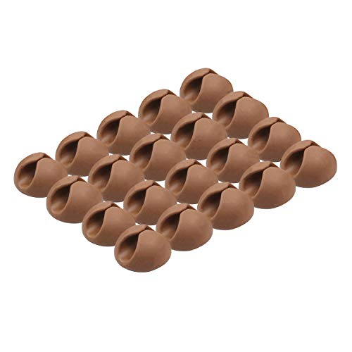 ROK Hardware Multipurpose Silicone Cable Clip Grip Wire Cord Type USB Desk Wall Desktop Organizer Charger Holder (20 Pack, Brown)