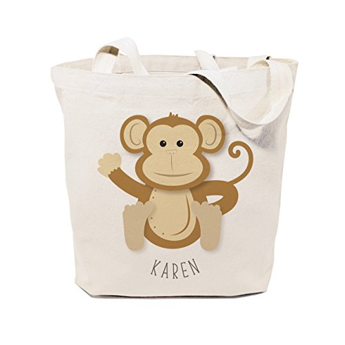 The Cotton & Canvas Co. Personalized Monkey Beach, Shopping and Travel Reusable Shoulder Tote and Handbag for Kids, Teens, - Beach Monkey