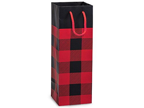 Single Deluxe Wine Tote - Wine Gift Bags with Handles, Set of 10 - Red Buffalo Check - For Christmas or Lumberjack Party