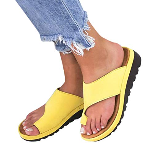 bb45041d8fa04 Sandals For Women Bummyo Ladies Fashion Flats Wedges Flip Flops Open Toe  Slides Ankle Beach Casual Shoes Roman Slippers Sandals(7M US, Yellow)