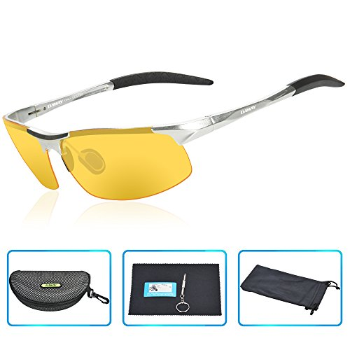 DAWAY SG06SY Mens Polarized Sports Sunglasses for Golf Fishing Cycling Driving - UV 400 TAC Lens with Al-Mg Unbreakable Metal Frames