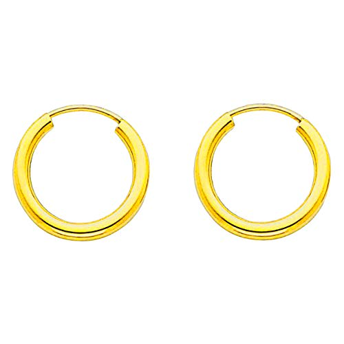 (14K Solid Yellow Gold Endless Loop Hoop Timeless Earrings 2 mm Gauge/Thickness Available in Multiple Diameters - Segment Septum Lip Nose Round Hoop Tragus Helix Cartilage (0.55 Inch))
