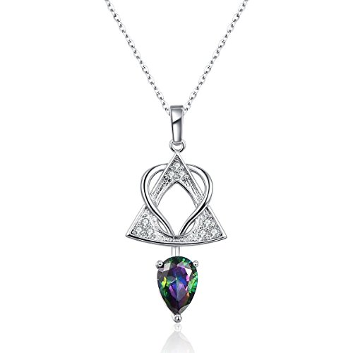 - Voinnia 925 Sterling Silver Plated Pear Created Rainbow Topaz Charm Pendant Necklace for Women (Color : Rainbow)
