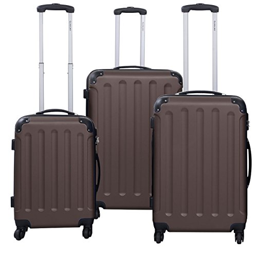 Goplus® Globalway 3 Pcs Luggage Travel Set Bag Abs+pc Trolley Suitcase - Luggage Brown