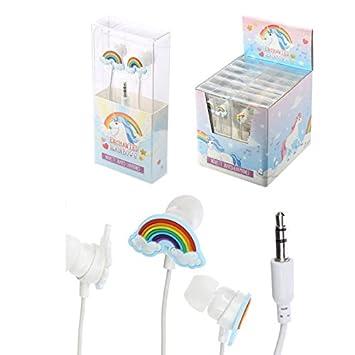 Unicornio Auriculares Boton Arco Iris