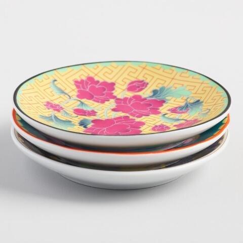 Floral Porcelain Tea Bag Rests - Set of 3