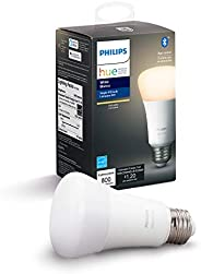 Philips Hue White A19 LED Smart Bulb, Bluetooth & Zigbee Compatible (Hue Hub Optional), Works with Alexa &