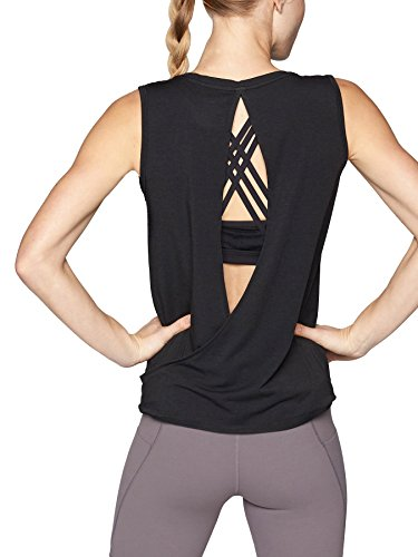 Bestisun Women's Workout Tops with Cutout Back Sleeveless Off Shoulder T Shirt Backless Crop Tops Workout Clothes Black M (Tee End Out)