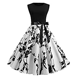 Euone Dress Women Vintage Dress Print Patchwork Bow Knot Dresses Evening Party Prom Swing Ball Gown Casual Sleeveless Sundress