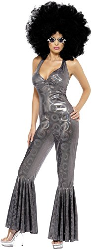 [Smiffy's Women's Disco Diva Costume, Flared Jumpsuit, 70 Disco, Serious fun, Size 6-8, 32888] (Red Jumpsuit Costume)