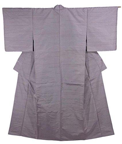 なる五月紳士リサイクル 着物 紬 横線模様 ひとえ 正絹 裄63cm 身丈158cm