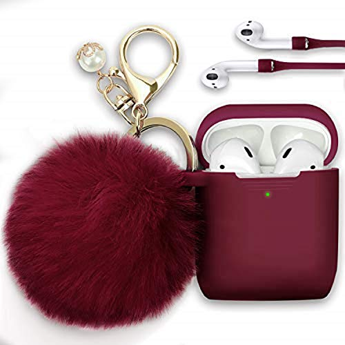 Filoto Case for Airpods, Airpod Case Cover for Apple Airpods 2&1 Charging Case, Cute Air Pods Silicone Protective Accessories Cases/Keychain/Pompom/Strap, Best Gift for Girls and Women, Maroon