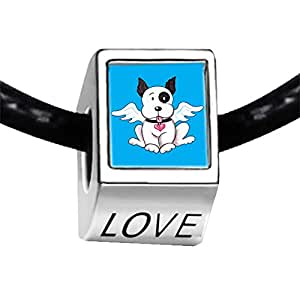 Chicforest Silver Plated Black And White Dog From Heaven Photo LOVE Charm Beads Fits Pandora Charm Bracelet