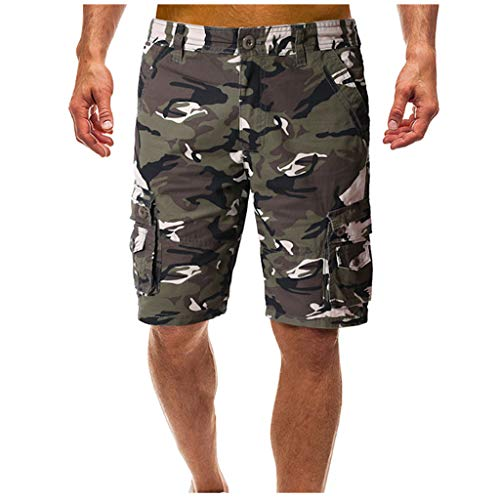 (Shorts for Men, F_Gotal Men's Casual Camouflage Buttons Multi-Pockets Straight-Fit Overalls Pants Shorts Sweatpants)