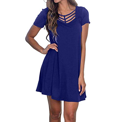 Tantisy ♣↭♣ Women's Sexy Hollow Out V-Neck Dress Short Sleeve Slim Swing Party Dress Ladies Solid Dress Multicolor Dark Blue ()