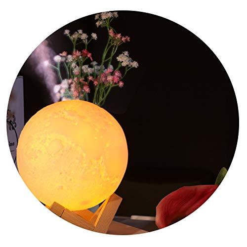 (No Buy No Bye 880ML Moon Lamp Humidifier Simulation 3D Moon Night Light Ultrasonic Air Humidifier Dimmable USB Humidificador Mist Maker,Yellow)