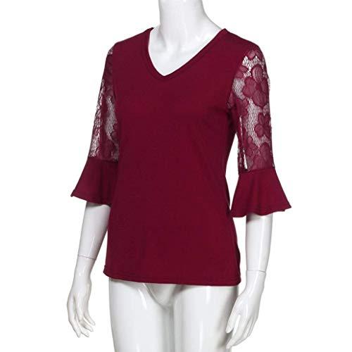 tops maglietta XL Turn lattice Down Plus sciolto donna size camicia AiBarle maniche taglia pulsante Blue grigio a lunghe colletto casual T487w