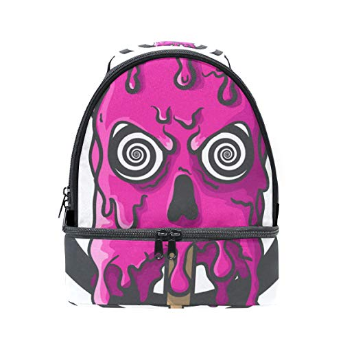 Dual Compartment Lunch Bag Halloween Skull Ice Cream Insulated Cooler Work School Picnic Lunch Box with Carry Shoulder Strap ()