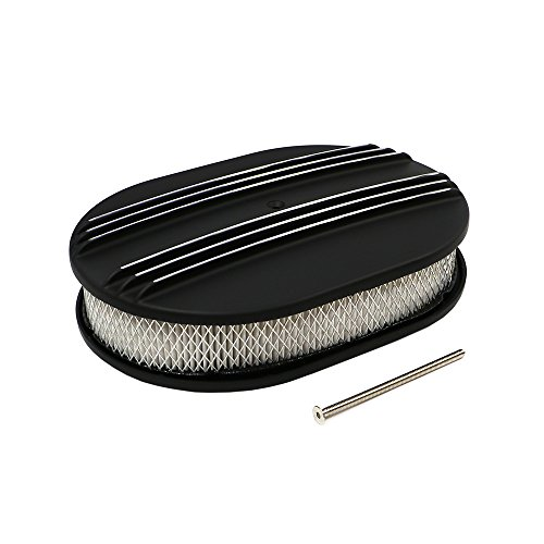 Assault Racing Products A6020-4PBK 12 x 2 Oval Partial Finned Black Aluminum Air Cleaner Assembly Retro