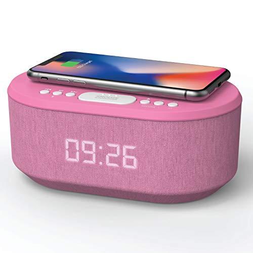 Radiowekker voor Draadloze Oplader, Wekkerradio Digitale met Bluetooth, USB-oplader, Dimbaar LED Display en Dual Alarm…