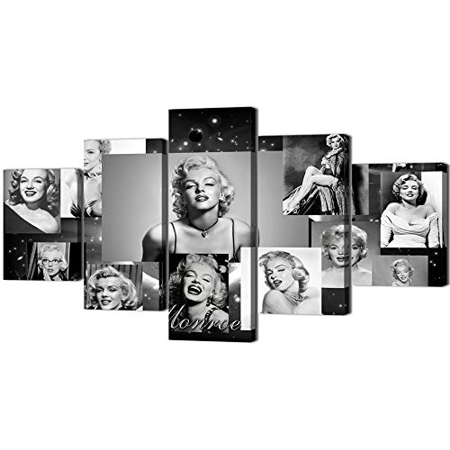 Marilyn Monroe Wall Decor Vintage Painting on Canvas Retro Black White Wall Art Artwork 5 Panel Multi Piece Posters and Printed Picture for Living Room Giclee Home Decoration Framed (60''Wx32''H)