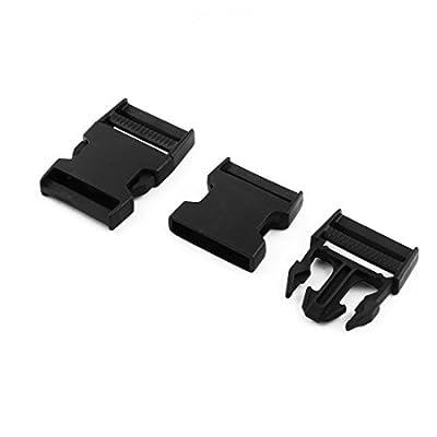 Dealmux Plastique Sangle de sac à dos côté Boucle à libération rapide 45mm de largeur 2pcs Noir