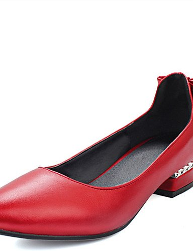 ZQ Zapatos de mujer-Tac¨®n Robusto-Puntiagudos-Tacones-Vestido / Casual / Fiesta y Noche-Semicuero-Negro / Rojo / Blanco / Gris , red-us9.5-10 / eu41 / uk7.5-8 / cn42 , red-us9.5-10 / eu41 / uk7.5-8 / red-us7.5 / eu38 / uk5.5 / cn38
